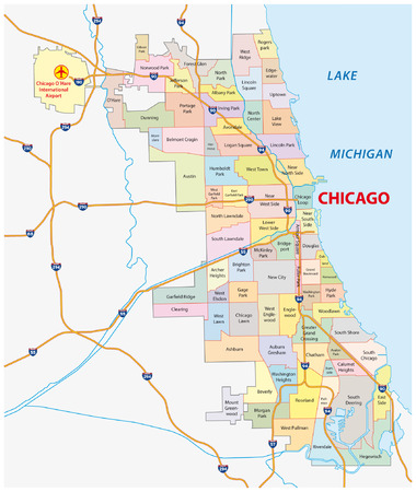 chicago wijk kaart Stock Illustratie