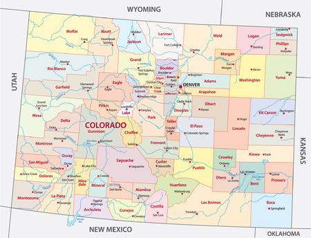 colorado administrative map Vectores