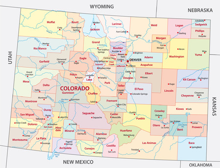 colorado administrative map Illustration