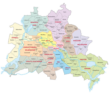 boroughs: berlin administrative map Illustration