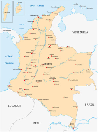 republic of colombia: colombia map