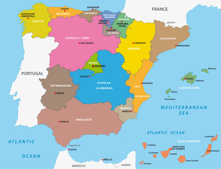 Political Map Of Spain With Flag And Badge Royalty Free Cliparts