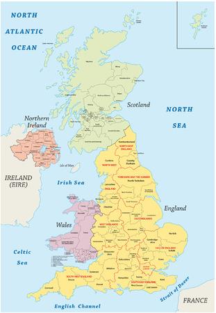 shetlander: verenigd koninkrijk administratieve kaart Stock Illustratie