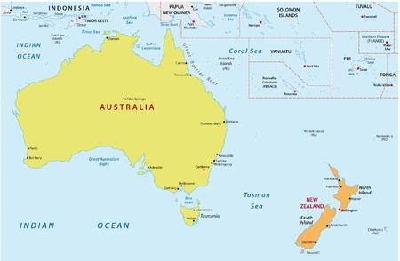 mapa politico: australia y nueva zelanda mapa Vectores