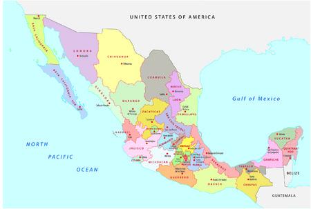 Messico mappa amministrativa Archivio Fotografico - 33399253