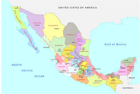 mexico map: mexico administrative map