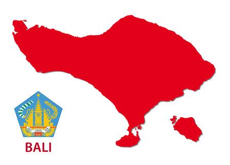 bali province: bali map with emblem