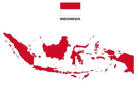フラグを持つインドネシア地図  イラスト・ベクター素材