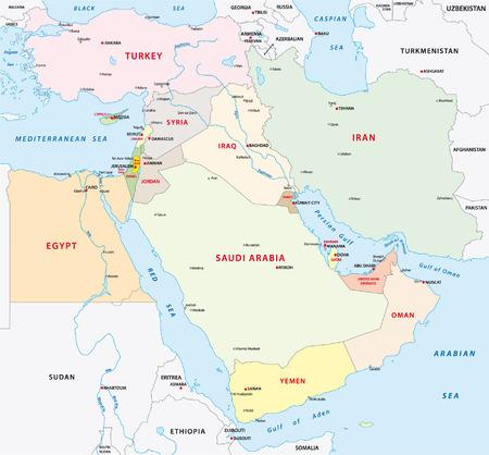 poblíž: Blízký východ na mapě Ilustrace