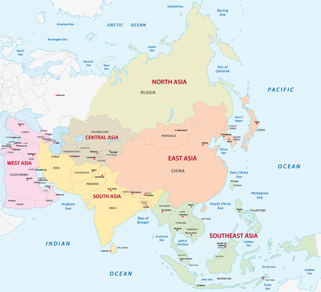 kaart van de Aziatische subregio's Stock Illustratie