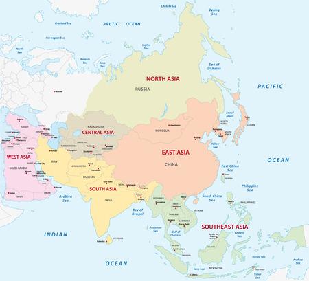 south east asia: Mappa delle asiatiche sotto-regioni