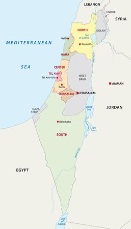Israel administrative map Illustration