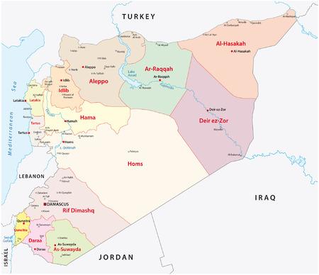 syria administrative map Ilustração