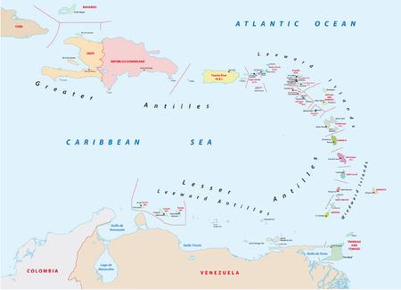 mapa de venezuela: Antillas Menores mapa Vectores