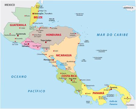 中央アメリカの地図  イラスト・ベクター素材