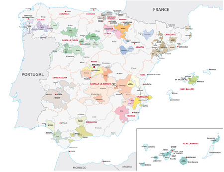 spain map: spain, wine region map