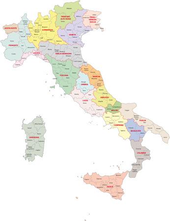 italië administratieve afdelingen Vector Illustratie