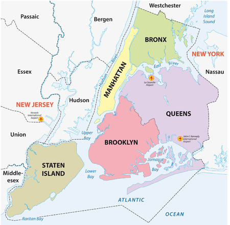 new york map: new york city, 5 boroughs