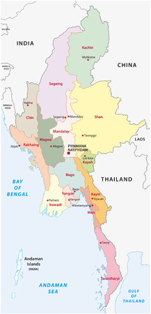 myanmar administrative map 矢量图像