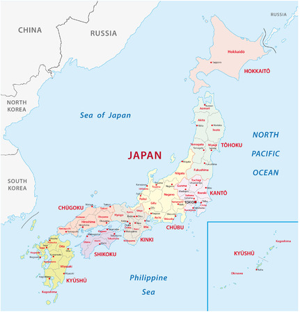 japan: japan administrative map