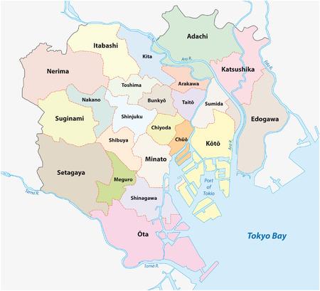 Tokyo administratieve kaart