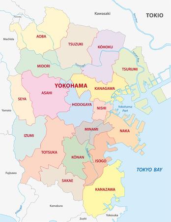 横浜行政地図  イラスト・ベクター素材
