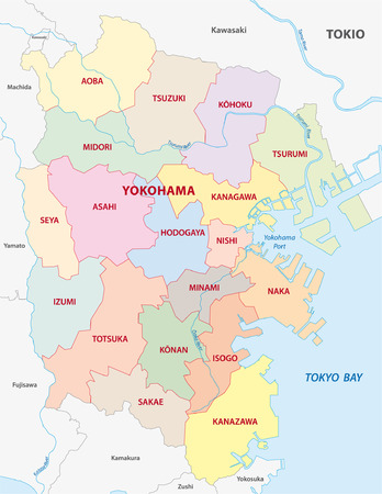 tokyo prefecture: yokohama administrative map