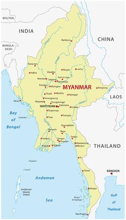 ミャンマー地図  イラスト・ベクター素材