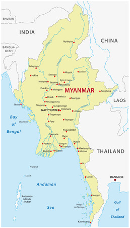 Myanmar kaart Stock Illustratie