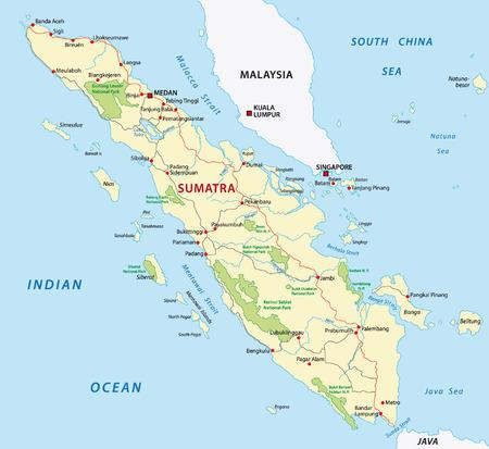 sumatra wegenkaart Stock Illustratie