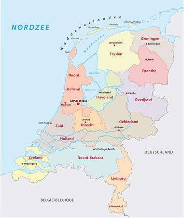 map of netherlands: netherlands administrative map