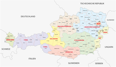 administrative map of Austria Vector
