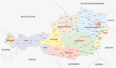 czech switzerland: mappa amministrativa di Austria Vettoriali