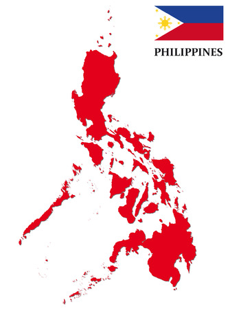 philippines: philippines map with flag