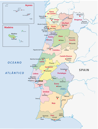 azores: portugal administrative map