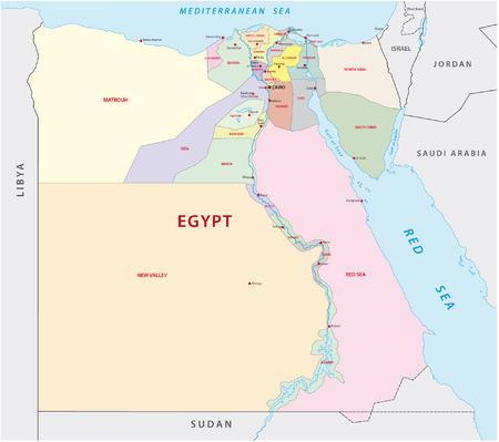bandera de egipto: mapa administrativo egipto Vectores