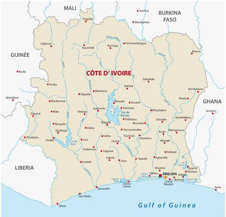 liberia: Ivory Coast map Illustration