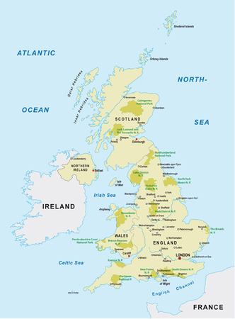 uk: united kingdom national park map Illustration