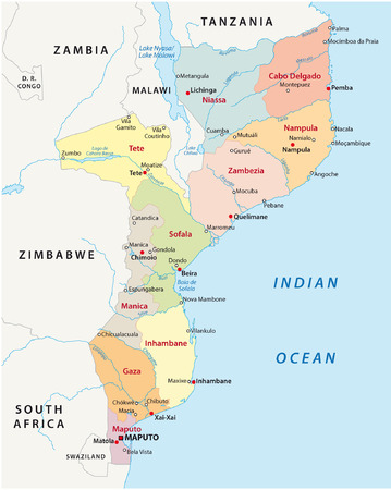 malawi: mozambique administrative map Illustration