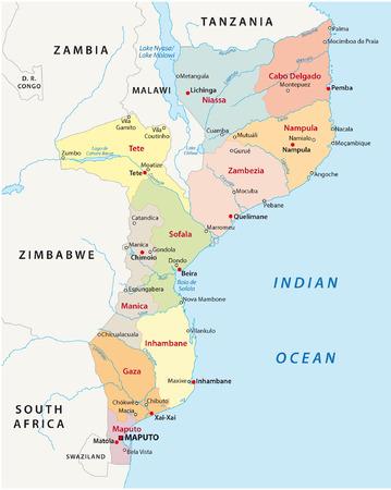 congo: mozambique administrative map Illustration