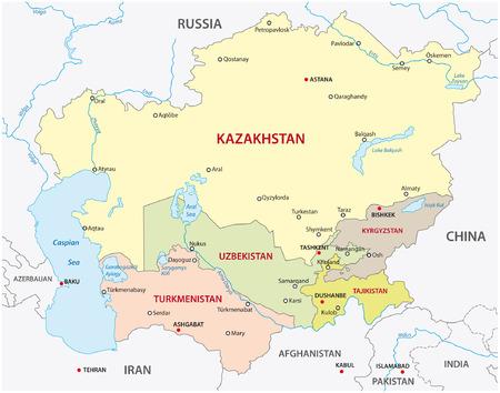 中央アジア地図  イラスト・ベクター素材