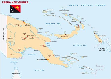 papua: papua new guinea map with flag