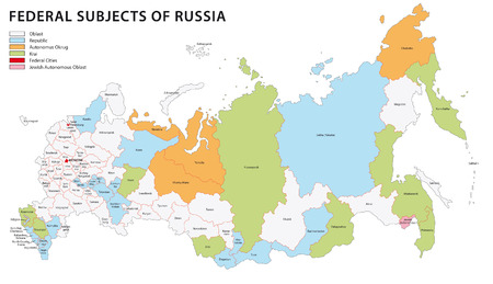 russia map: russia administrative map