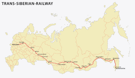 railroad station: trans-siberian railway, main route, map Illustration