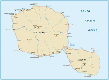 windward: road map of tahiti Illustration