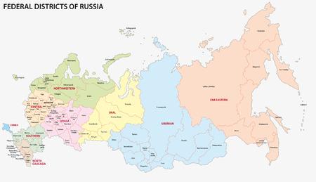 administrativo: rusia distritos federales mapa