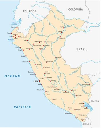 republic of colombia: peru map
