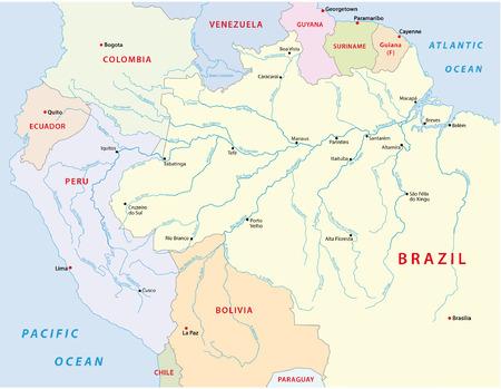 アマゾナス州の川の地図
