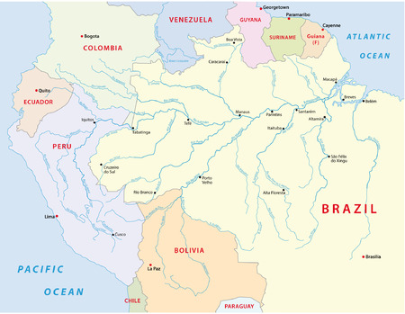 amazonas river map 向量圖像