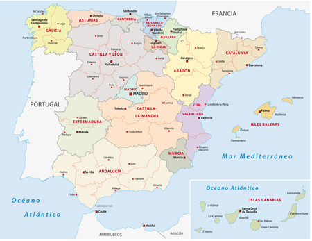 spain map: autonomous communities of spain